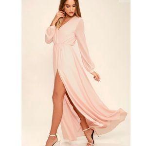 LULUs Wondrous Water Lilies Blush Pink Maxi Dress
